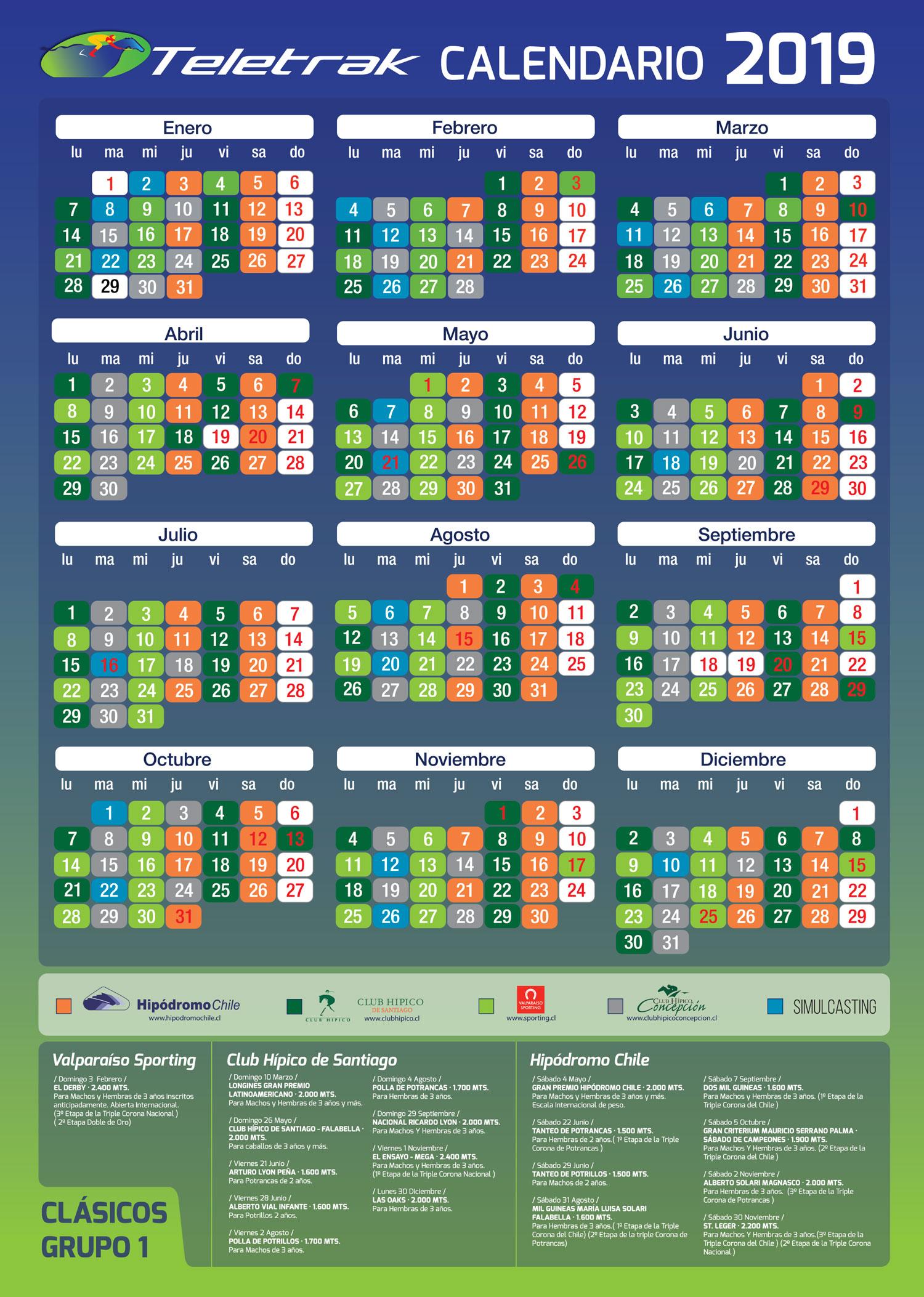 Calendario Diciembre 2019 Chile.Calendario Teletrak
